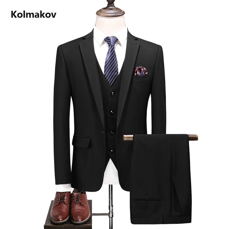 (Jacket + Pant+vest)2019 Hot Sale Spring Mens Suits Slim Fit black Luxury Male Wedding Suit For Groom Formal Business PartySuits