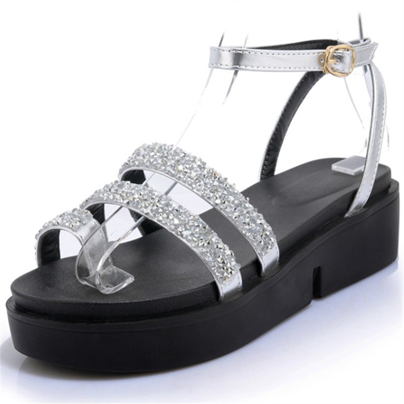 Plus Size 34-44 Summer shoes woman Platform Sandals Women rhinestone Casual Open Toe Gladiator wedges Women zapatos mujer Shoes 2017 summer new rivet wedges sandals creepers women high heel platform casual shoes silver women gladiator sandals zapatos mujer