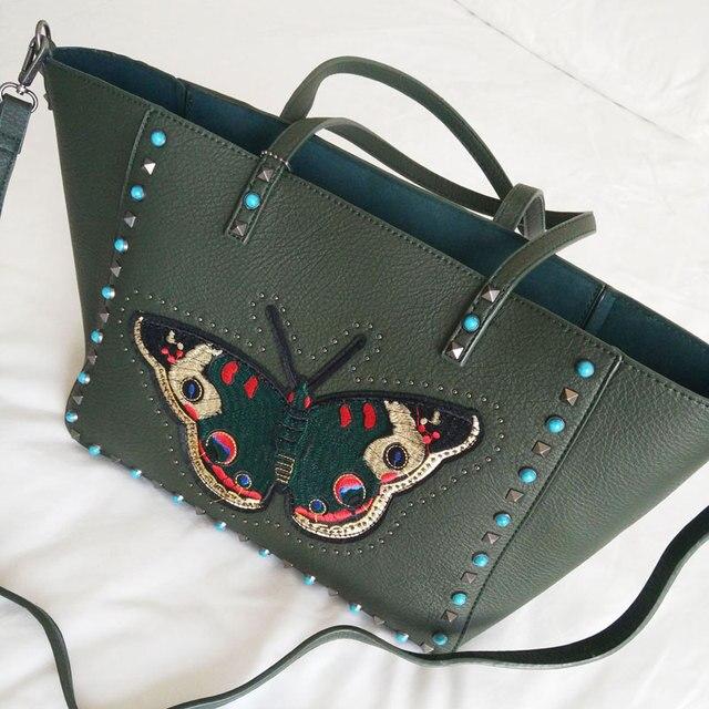 Сумка jumbo сумка женщины вышивка заклепки большие сумки сумка большая сумка 2017 новый зеленый красный цвет