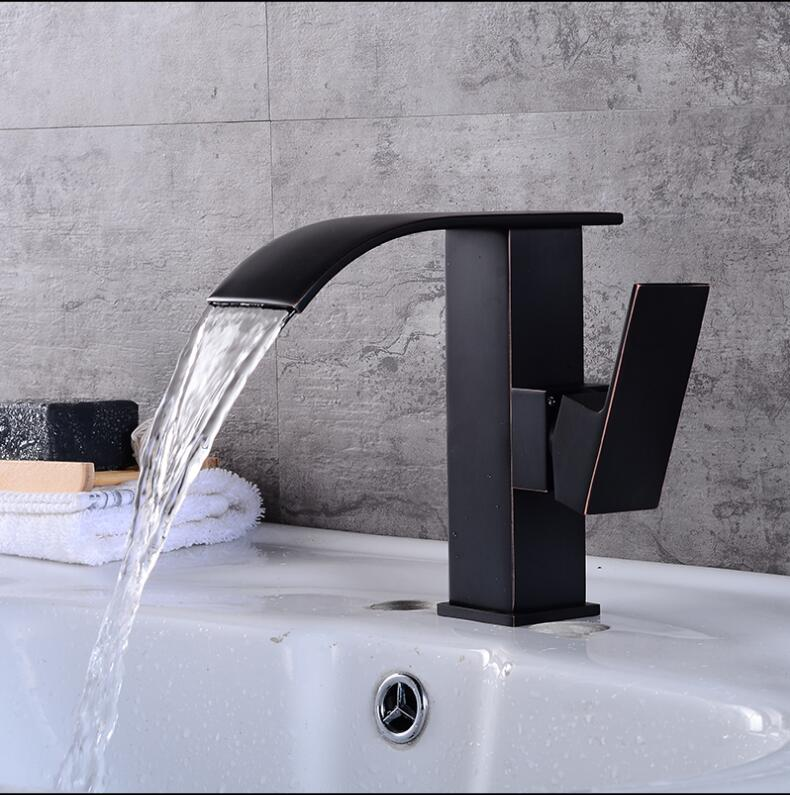 New Arrivals Black Oil Brushed Bathroom Faucet hot and cold Brass Basin Faucet Waterfall Sink Faucet Single Handle water tap led color changing brushed nickle basin faucet hot and cold water faucet waterfall spout dual handle tap