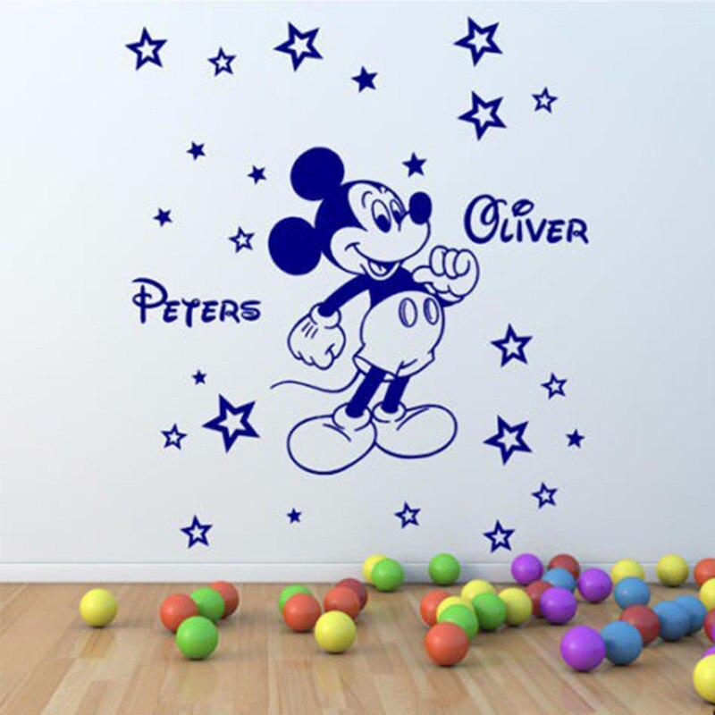 Mickey Mouse Personalizado Nome Adesivo de Parede Nome da Criança do Miúdo  Adesivo Berçário Adesivos de Parede Para Quartos de Criança DIY Parede  decalques 9c05b6776b