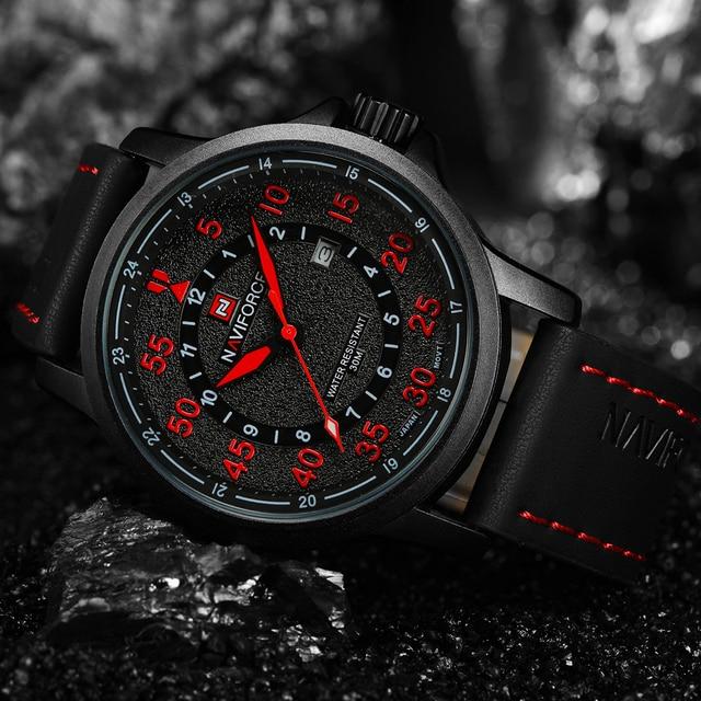NAVIFORCE Brand Fashion Casual Watches Men's 3ATM Waterproof Quartz Watch Men Date Clock Man Leather Army Military Wristwatch