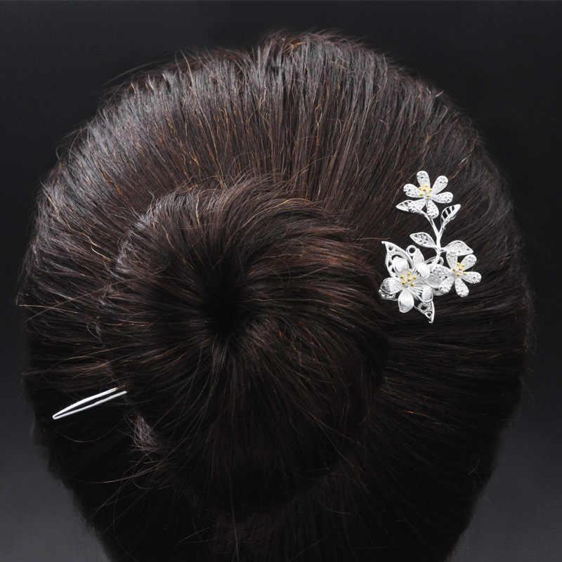 زهرة الشعر عصا هان سولو زي 925 فضة مجوهرات النساء الشعر دبابيس الصينية العرقية اليدوية دبوس الصين الهواء صريحة