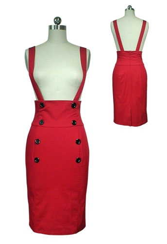 30- women vintage 50s elegant wiggle pencil suspender skirt in red black plus  size brace f0d8211c7fdb