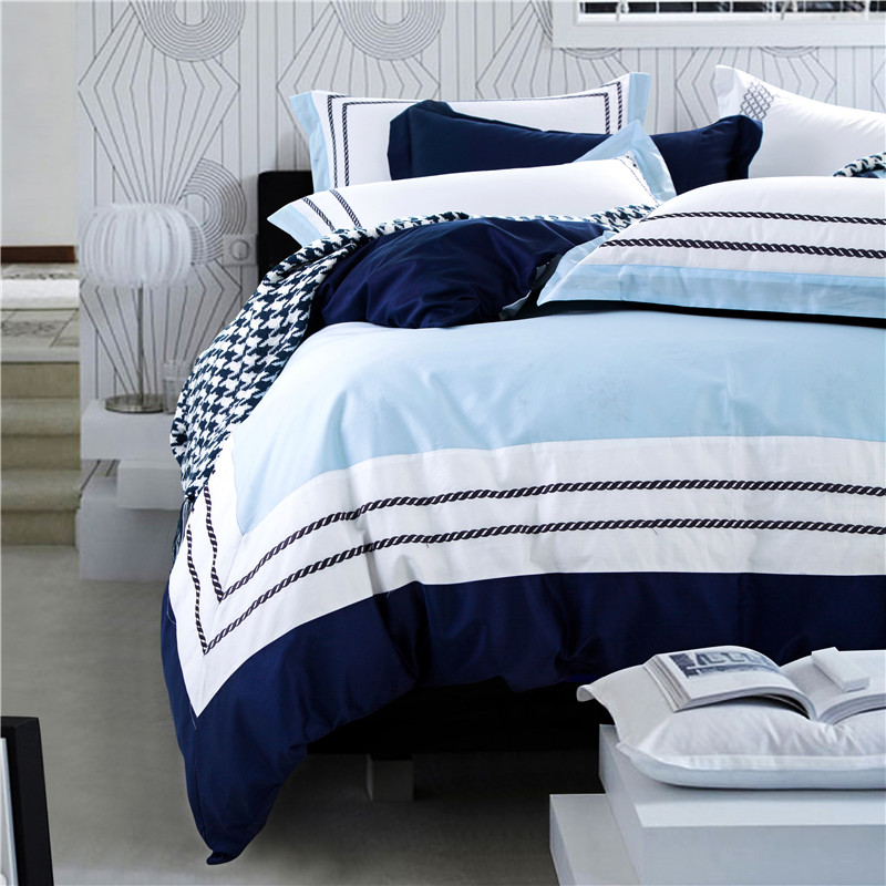 Blue sea color hotel luxury embroidered bedding sets queen king size 100% cotton soft bedclothes 4Pcs duvet cover bed sheet set