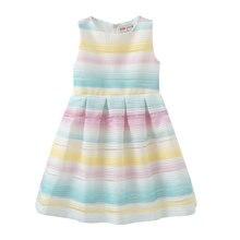 2019 Striped Rain Bow Baby Girl Dresses Vestidos Mid-Calf Le