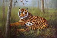 Quality Hand Painted Oil Painting Tiger Resting 24x36in