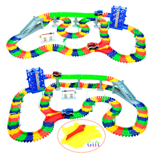 240pcs Race Track +2pc LED CarMiraculous Race Track Bend Flex Car Toy Racing Track Set DIY Track Electric Rail Car Model Set