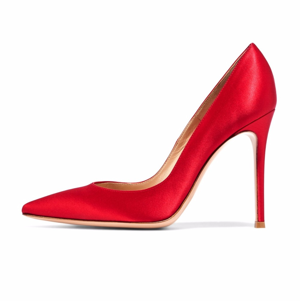 ФОТО Women's High Heel Satin Pumps Pointed Toe 10cm Stiletto Thin Heels Closed Toe Party Prom Dress Shoes Red Black