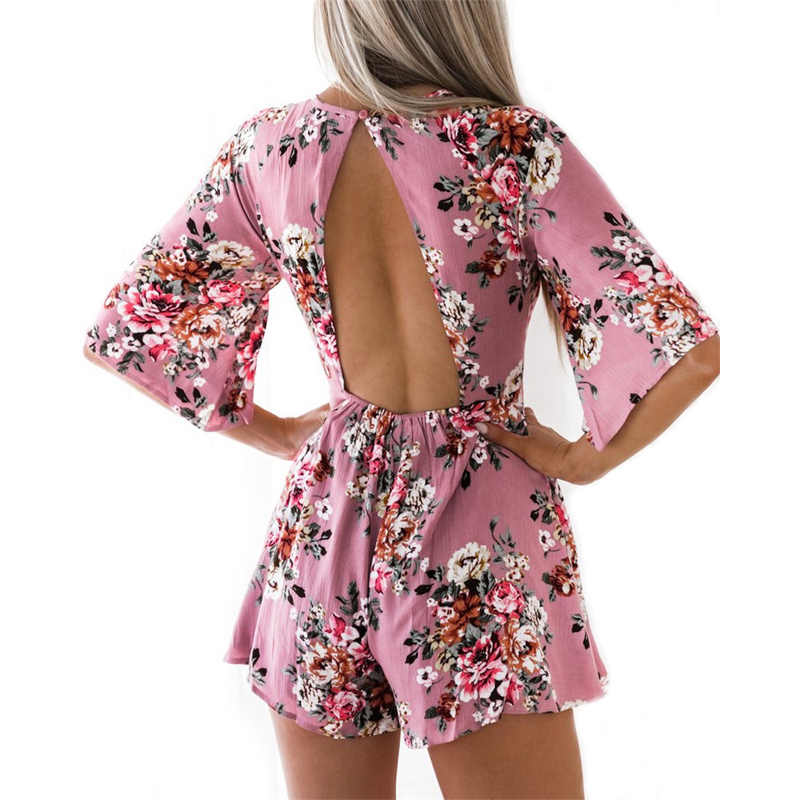 7ccaa2f3109 2018 Summer Boho Style Women Rompers Floral Print Beach Playsuits Sexy  Backless Jumpsuit Female Short Chiffon