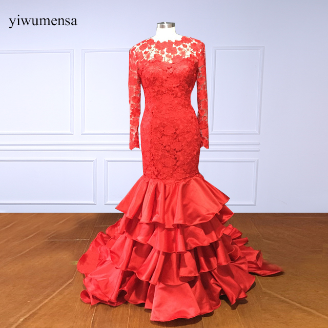 yiwumensa New Arrival Red   prom     dresses   2018 long sleeves Lace Backless custom made   Prom     dress   Mermaid party gown Bridal   dress