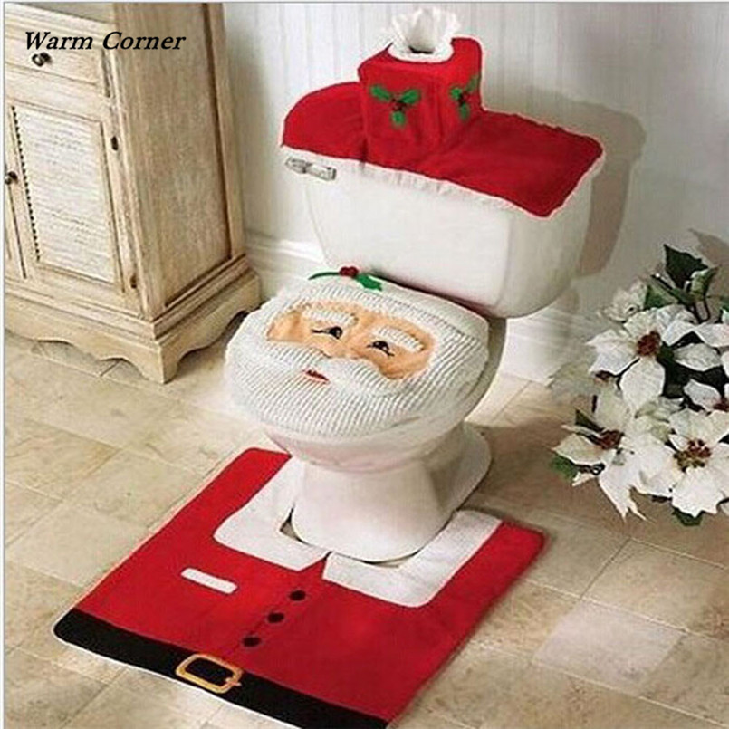 2017 3pcs Fancy Santa Toilet Seat Cover And Rug Bathroom Set Christmas Decor Halloween Free Shipping Sept 15