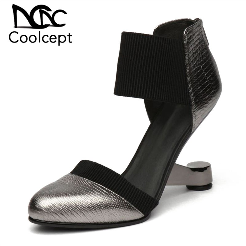 Coolcept Fashion Women Pumps 2019 Genuine Leather Pointed Toe Strange Heel Shoes Sexy Party Club Catwalk