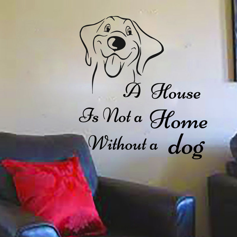 ZOOYOO Smiling Dog Wall Sticker Home Decor Removable Living Room Bedroom Wall Art Murals Decoration