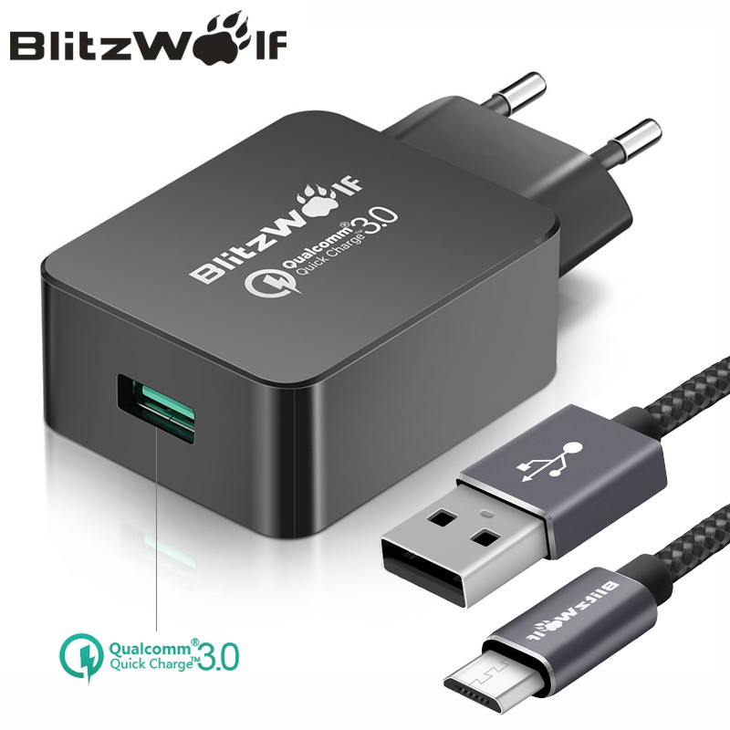 BlitzWolf QC3.0 USB <font><b>Charger</b></font> EU Mobile <font><b>Phone</b></font> <font><b>Charger</b></font> Adapter Wall Travel <font><b>Charger</b></font> With USB Cable For Xiaomi For Samsung For iPhone
