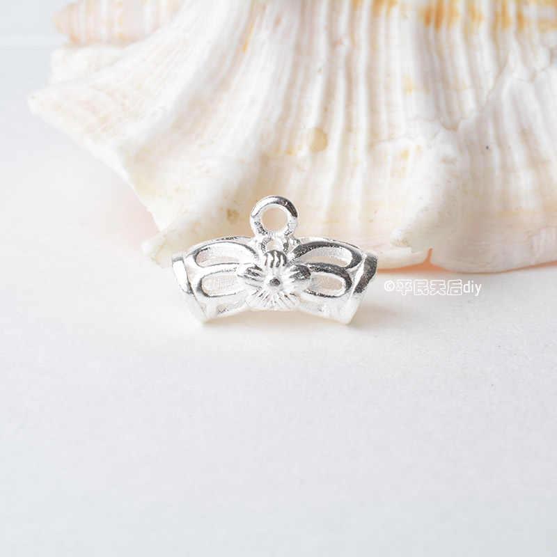 Stałe 925 sterling silver pusta rura paciorek do naszyjnika złącze z zamkniętymi pierścień skoku, rondel paciorek do naszyjnika charms dla naszyjnik