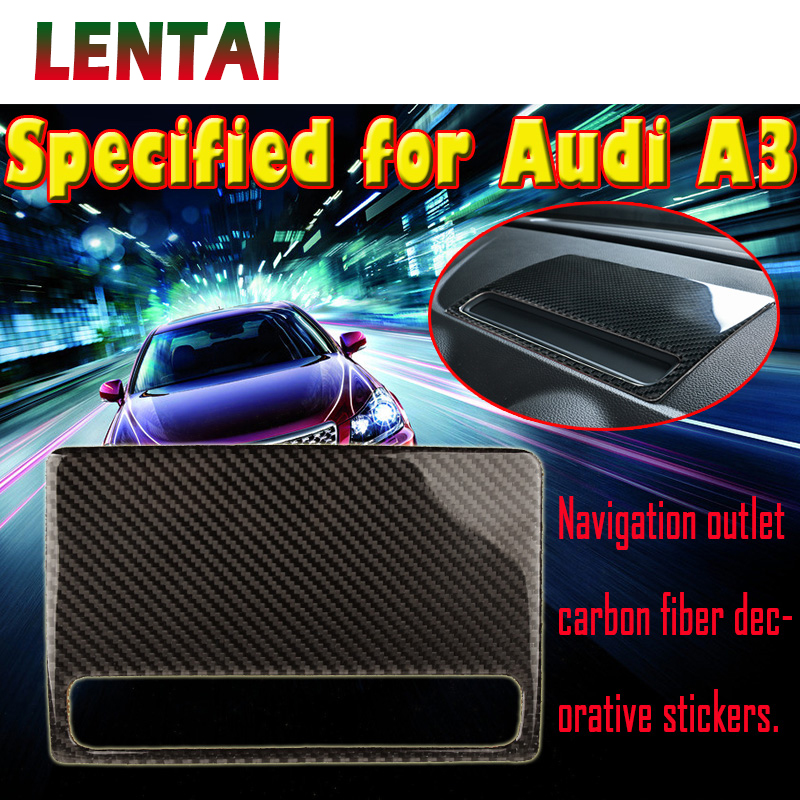 LENTAI 1pcs Auto Car Styling Carbon Fiber Dashboard GPS Bracket Support Sticker For Audi A3 8V 2013 2014 2015 2016 Accessories image