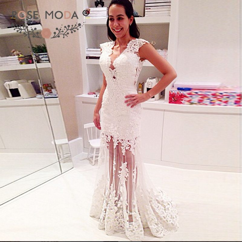 Rose Moda Cap Sleeves Lace Boho Wedding Dress 2019 Backless Reception Dress
