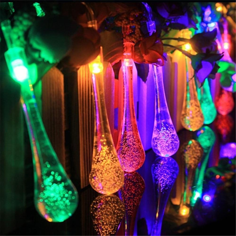 waterproof led christmas lights outdoor solar 5m 30 led string fairy lights garland indoor garden home - Teardrop Christmas Lights
