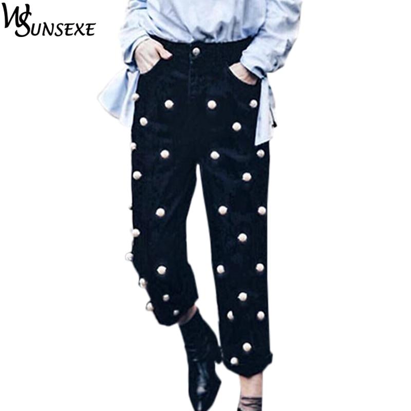 Fashion Pearl Denim Jeans Women Black Straight Calf Length Loose Wide Legged Pants 2017 Autumn Femme Trousers High Waist Cowboy