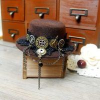 Handmade Steampunk Gear Chain Mini Top Hat Retro Brown Fedoras Hat Punk Lolita Cosplay Hat For