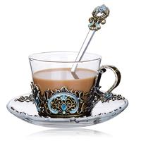 European Luxury Enameled Crystal Glass Tea Cup Come With Spoon Tea Milk Mug Gift Box Package Wedding Gifts Transparent Teaware