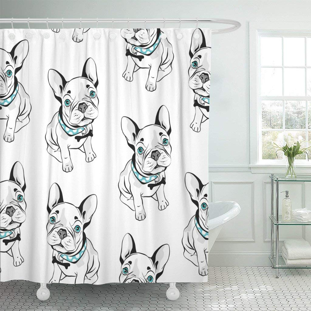 gray frenchie french bulldog on funny dogs shower curtain blue eyes curtain waterproof polyester fabric