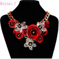 Много Имеющихся Цветов Акриловые Бусины Спрей Живопись Цветы ожерелье женщины себе биб колье себе воротник ожерелье