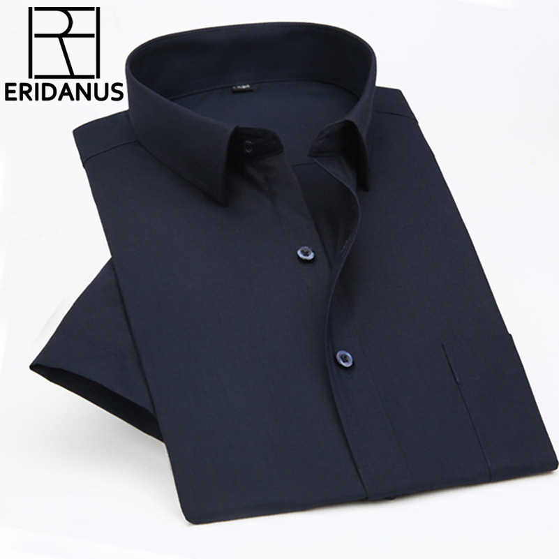 2016 uomini di Estate a maniche corte Camicia di Affari Maschio di Lavoro Professionale di Alta Qualità Vestito Allentato di Colore Solido Camicie XS-5XL M073
