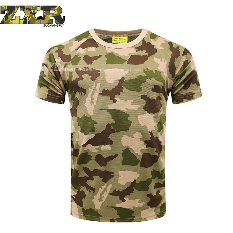 Camouflage Tactical T-shirt Quick Dry Breathable Tights <font><b>Army</b></font> Tactical <font><b>Tshirt</b></font> <font><b>Mens</b></font> Compression T Shirt Fitness Summer Bodybulding image