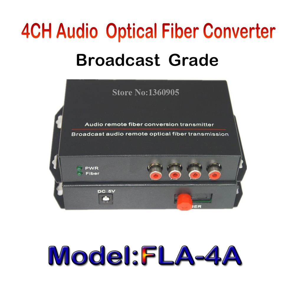 ФОТО 4CH Audio Fiber optical media converter broadcast grade AV 20km one pair  for broadcast audio, background music, audio monitor