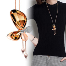 Personality Trendy Charm big Crystal Butterfly Tassel Long Pendant for Women Bijoux Golden Necklaces Jewelry