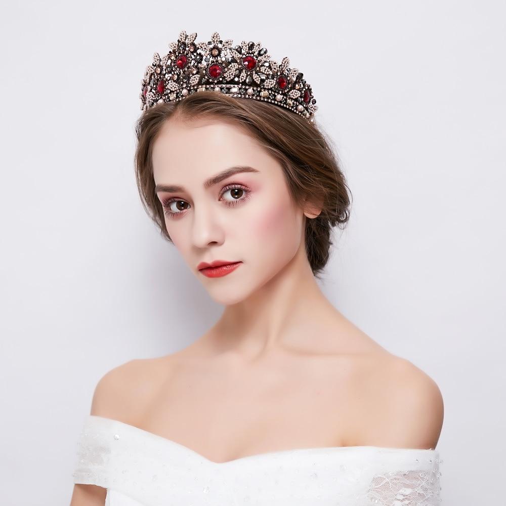 все цены на Retro Rhinestone Crystal Tiara Baroque Queen Crown Headdress Ornament Wedding Bridal Headband Hair Jewelry Costume Headpiece New