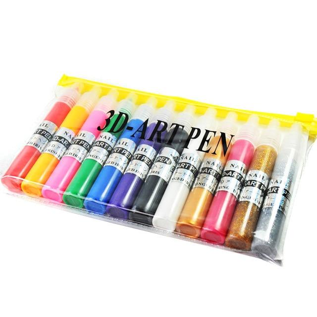 12 Colors/Set Nail Art Pen for 3D Nail Art DIY Decoration Nail ...