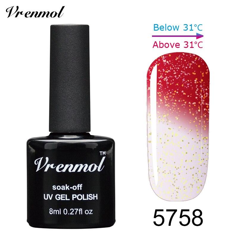 Vrenmol, 1 шт., меняющий цвет, замачиваемый УФ-гель, цвета, лак Verniz, Термальный, меняющий настроение, Гель-лак для ногтей - Цвет: 5758