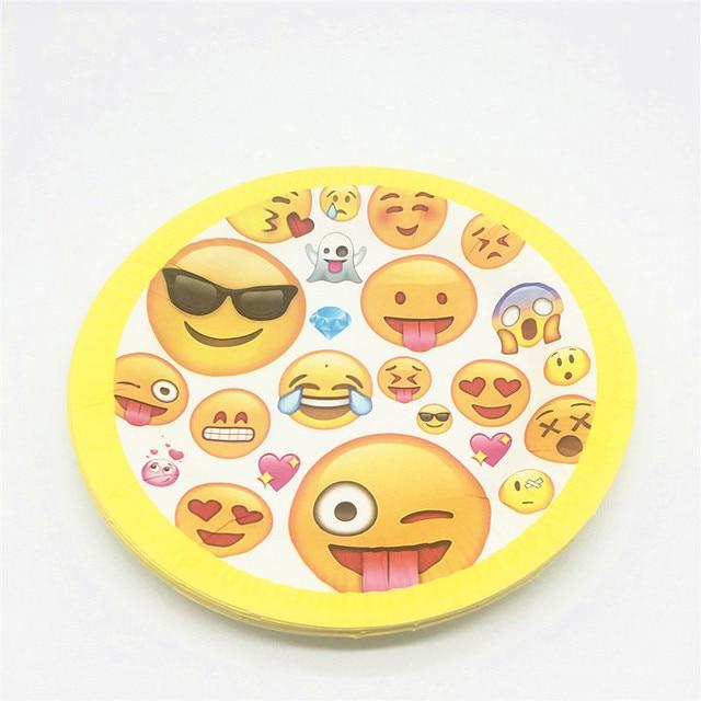 € 1.61 |10 pcs/lot emoji thème Enfant Enfants Garçons de Fête  D'anniversaire Papier Plaque Plat 7 pouces Impression Ronde Plaques Partie  Fournitures ...