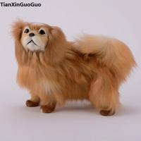 simulation pekingese dog hard model,polyethylene&furry furs brown dog large 28x16x25cm handicraft ,home decoration gift s0708