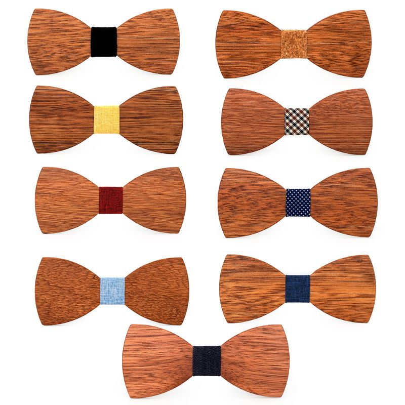 Bow Tie Men High Quality Wooden Bow Ties Classic Business Butterfly Solid Wood Color