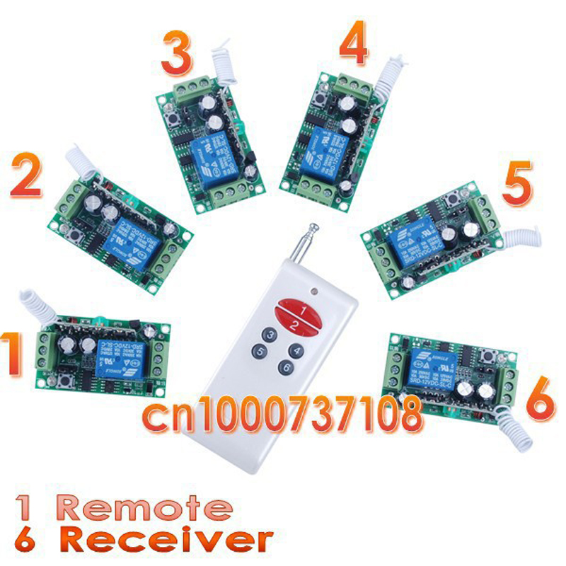 DC12V RF Wireless Switch Wireless remote control system1transmitter+6receiver10A 1CH Toggle Momentary Latched Learning Code 3v 3 7v 5v rf remote control switch mini receiver mini 7 transmitter learning code momentary toggle latched adjustable