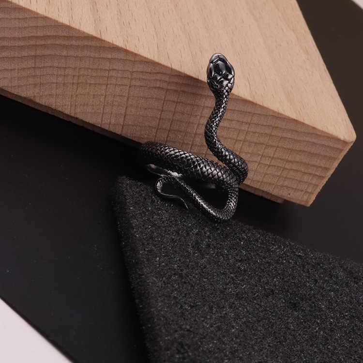 แฟชั่น Punk สัตว์แหวนโกธิคสีดำโลหะเงินแหวนงู Gor ชาย Unisex ปรับแหวนเครื่องประดับ Drop Shipping