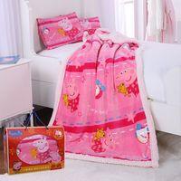 Genuine Peppa Pig time for bed Lamb cashmere 150cm quilt+42cm pillow suit Cartoon warm plush quilt for autumn /winter kids toy