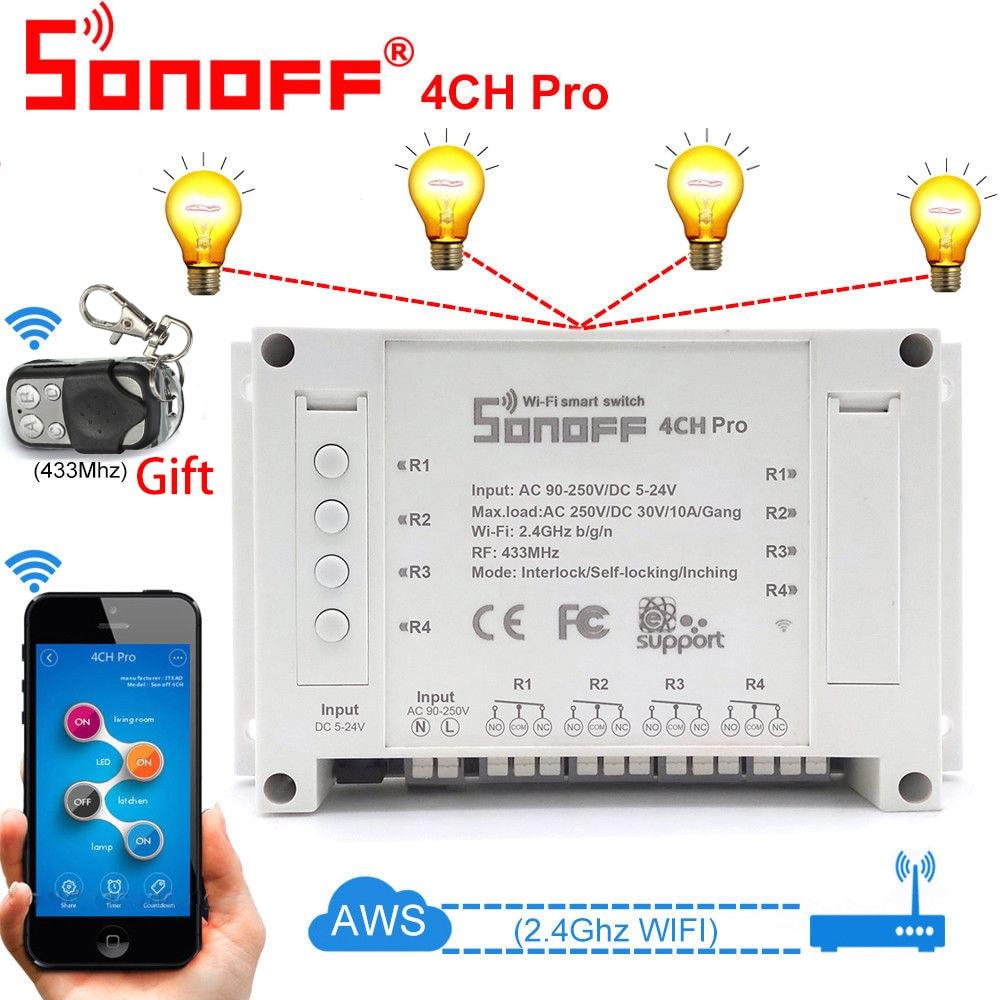 Sonoff 4CH Pro R2 Maison Intelligente Wifi Commutateur, 4 Gang Inching Auto-Verrouillage Verrouillage Du, commutateur intelligent App Interrupteur À Distance