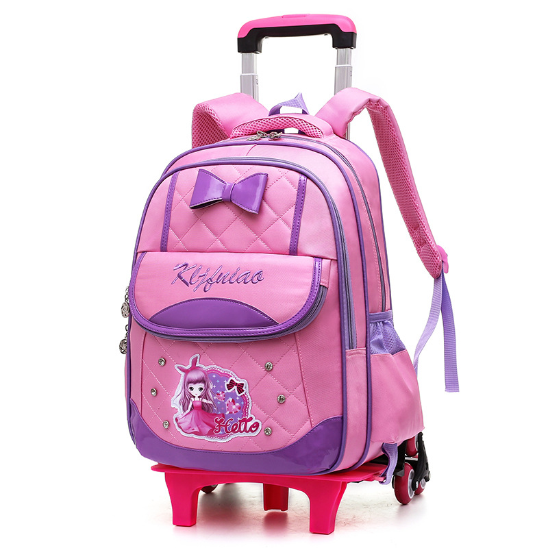Removable Kids Trolley Schoolbags for Girls Orthopedic Backpack Teenager Capacity Trolley Bookbags Wheels Climb Stair Schoolbags