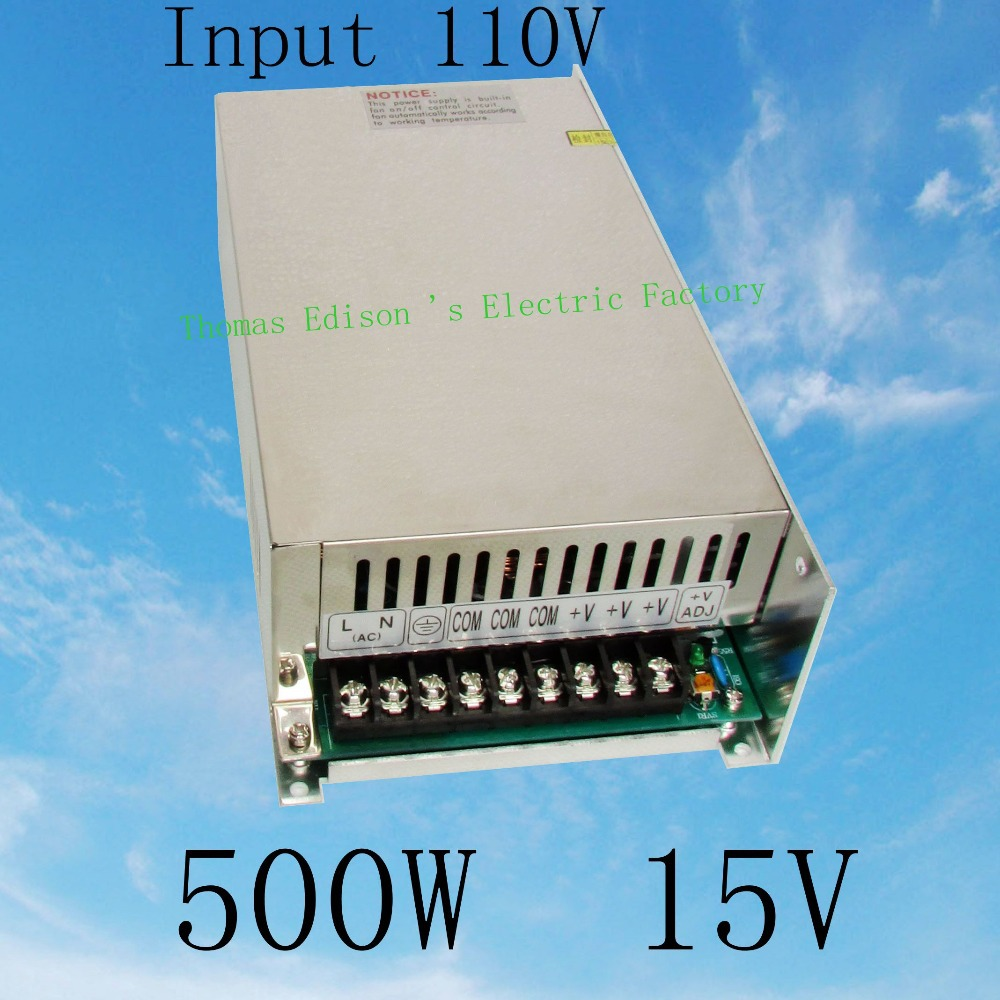 DIANQI power suply 15v 500w input 110v ac to dc power supply ac dc converter  high quality led driver S-500-15 best quality 12v 15a 180w switching power supply driver for led strip ac 100 240v input to dc 12v