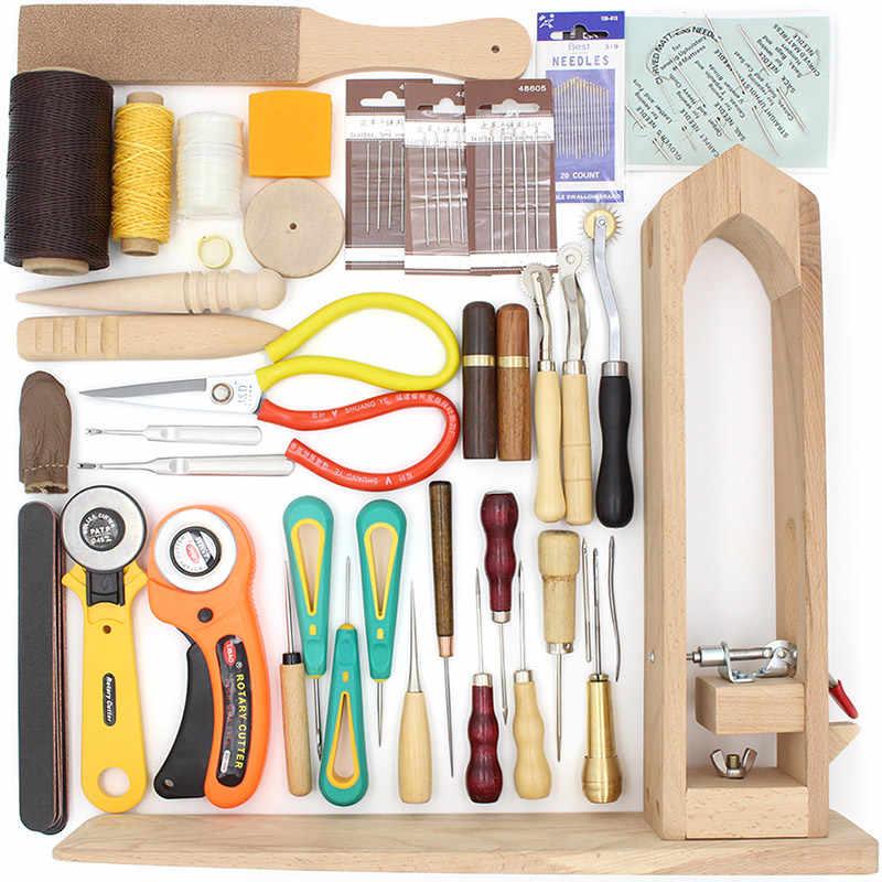 Peut choisir, ensemble d'outils de maroquinerie, fil d'aiguille en cuir à la main couture pour coudre des ciseaux à découper pince à bois bricolage outils d'artisanat