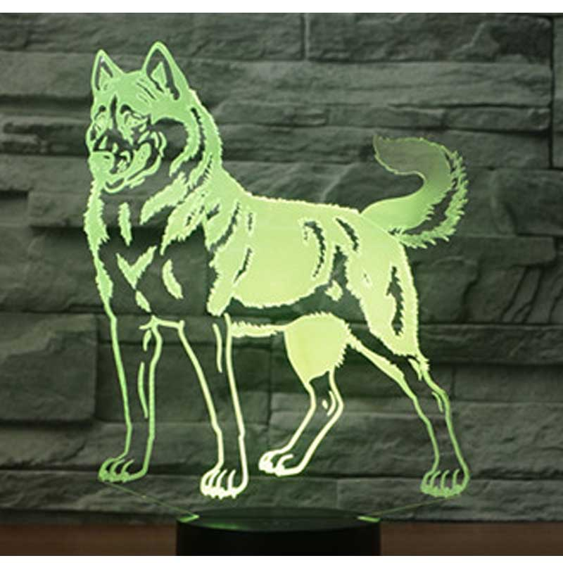 3D LED Night Light Husky Dog with 7 Colors Light for Home Decoration Lamp Amazing Visualization Optical Illusion Awesome