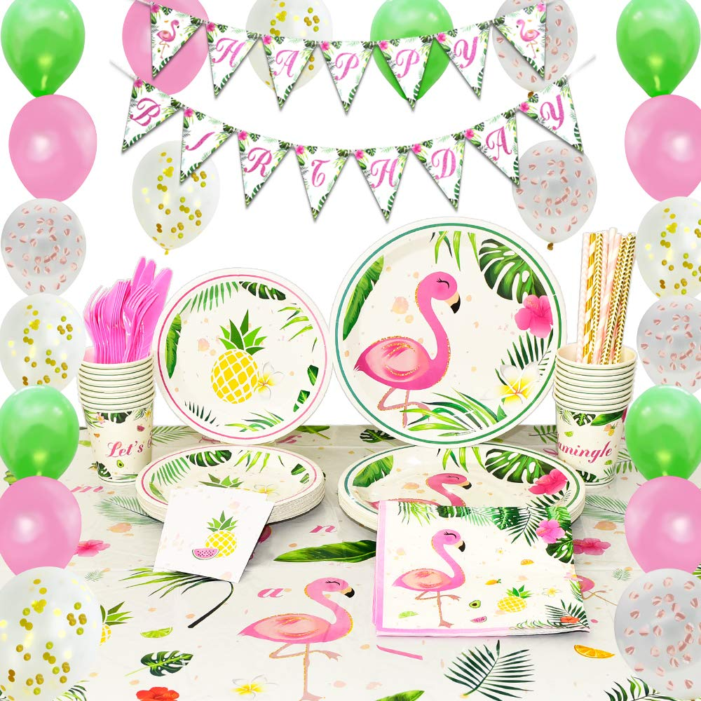 Summer Flamingo Party Kit Flamingo Theme Paper Plate Cup Napkins Birthday Party Decoration Kids Baby Shower Decoration Supplies
