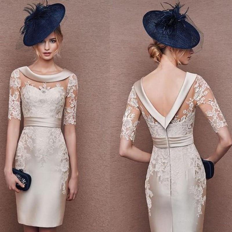 Silver Pageant Dresses Half Sleeves Robe De Soiree Appliques Formal Dress Short Knee Length Custom Made