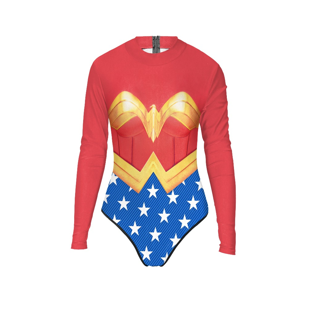 New 056 Sexy Girl Summer Comic Wonder Woman Hero Prints Zip Long Sleeve One Piece Swimsuit Monokini Women Swimwear Bathing Suit new 047 girl adventure time princess bubblegum prints zip long sleeve one piece swimsuit monokini women swimwear bathing suit