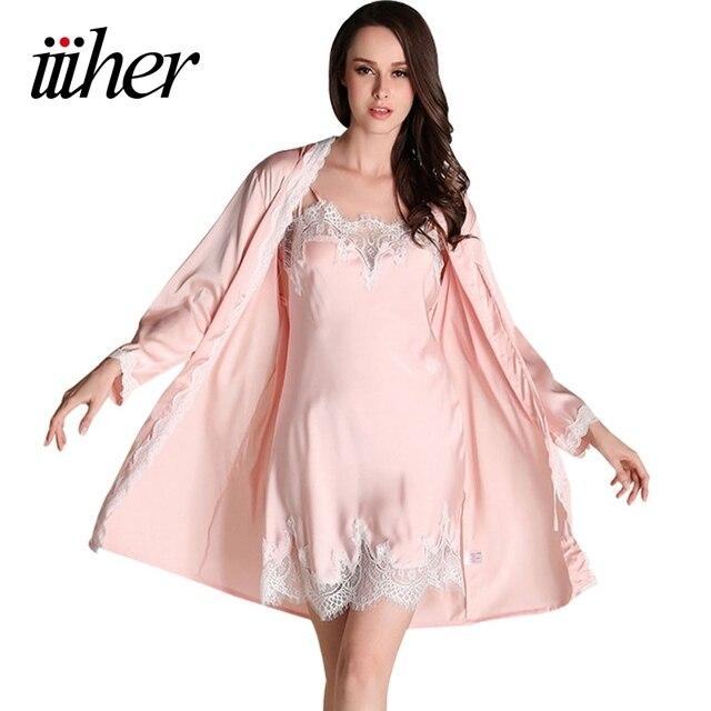 iiiher Bridesmaid Robes Gown Sets Sexy Lace Robe Women s Sleepwear Sleep  Suits Pajama Sets Womens Nightwear Night Skirts d270aa20f